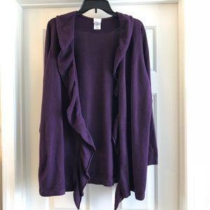 2x purple ruffle cardigan sweater